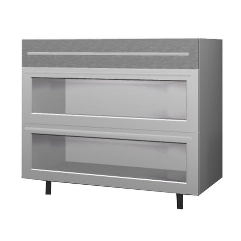90 Cm. Grey Wave Base Unit 3 Drawers Plexi Frame Aluminum