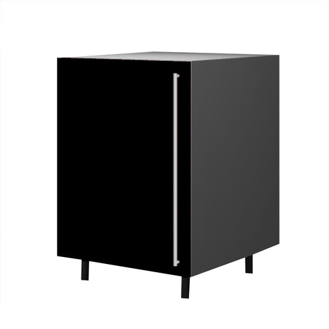 60 Cm. Black High Gloss Base Unit With  Shelf Left