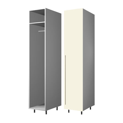 45 Cm. Cream High Gloss Wardrobe (White Interior ) with Shelf and Hanger Right