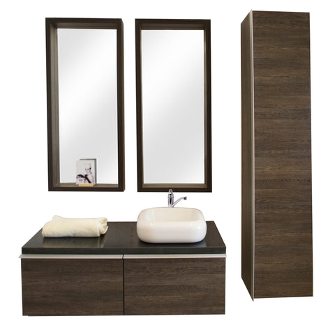 160 Cm. Wengee Mali Combo Bath Sink Tipper Unit + Placard + 2 Glass Mirrors
