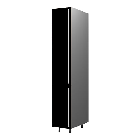 40 Cm. Black High Gloss Tall Unit With Shelfs Left