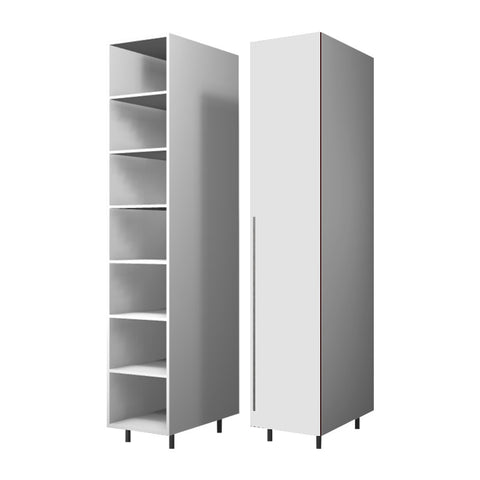 45 Cm. White High Gloss Wardrobe (White Interior ) with Shelves Right