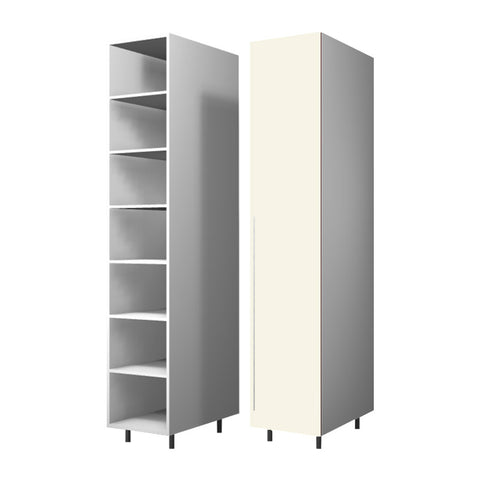 45 Cm. Cream High Gloss Wardrobe (White Interior ) with Shelves Right