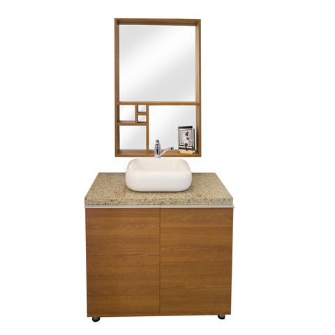 90 Cm. Rustic Oak  Combo Bath Sink Unit + Glass Mirror