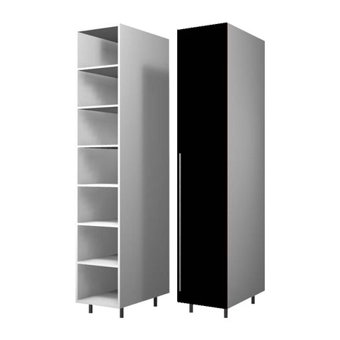45 Cm. Black High Gloss Wardrobe (White Interior ) with Shelves Right