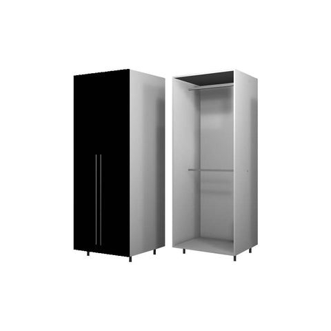 90 Cm. Black High Gloss Wardrobe (White Interior ) with 2 Hangers