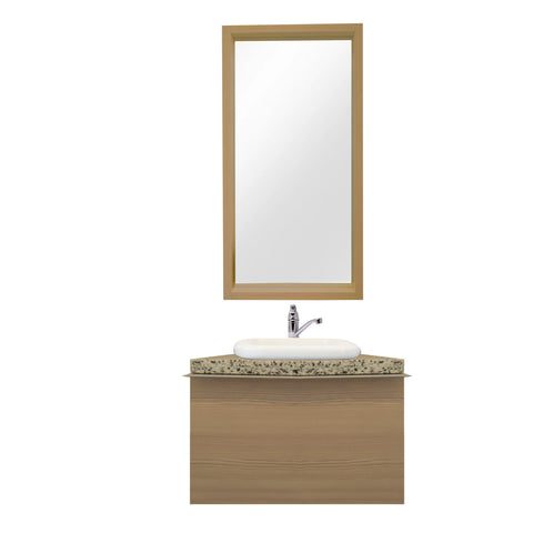 60 Cm. Champagne Avola Combo Bath Sink Tipper Unit + Glass Mirror