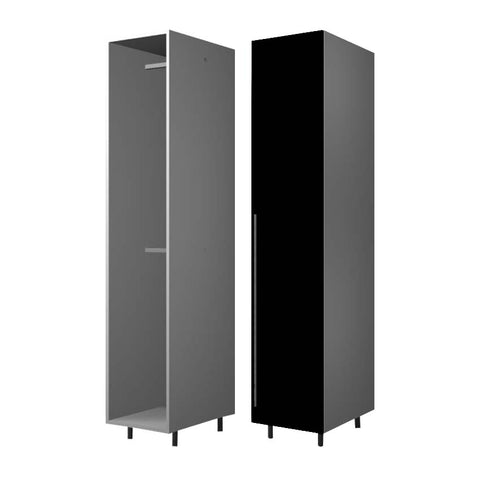 45 Cm. Black High Gloss Wardrobe (White Interior ) with 2 Hanger Right