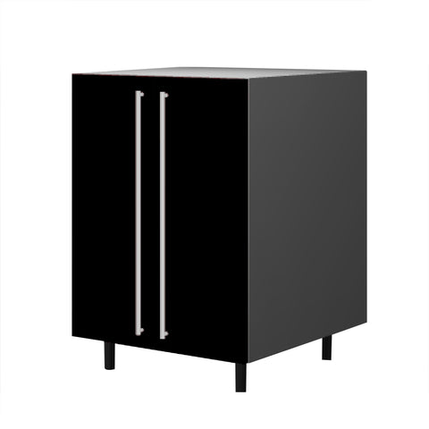 60 Cm. Black High Gloss Base Unit With  Shelf & 2 Doors