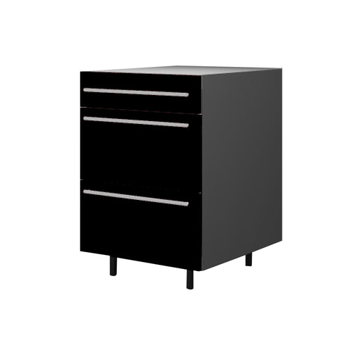 60 Cm. Black High Gloss Base Base Unit 3 Drawers