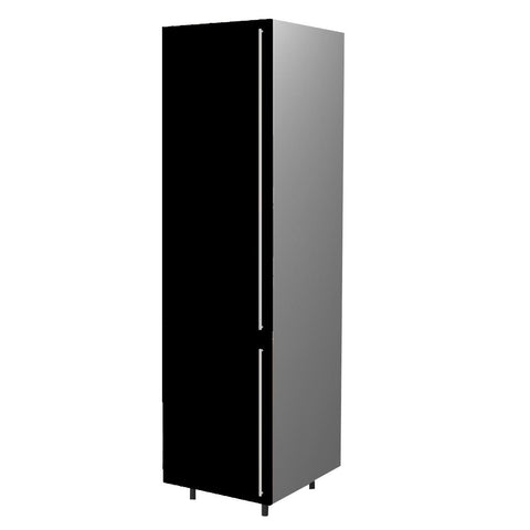 60 Cm. Black High Gloss Tall Unit/Fridge with 2 Doors Left