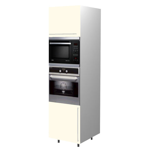 60 Cm. Cream High Gloss Tall Oven/Microwave Unit Left