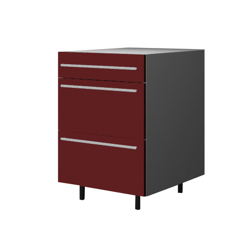 60 Cm. Burgundi High Gloss Base Base Unit 3 Drawers