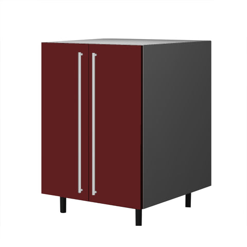 60 Cm. Burgundi High Gloss Base Base Unit With  Shelf & 2 Doors