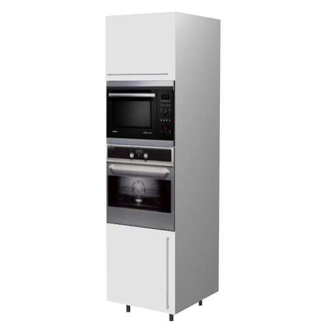 60 Cm. White High Gloss Tall Oven/Microwave Unit Left