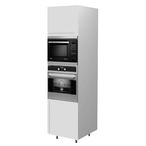 60 Cm. White Laminated Tall Oven/Microwave Unit Right