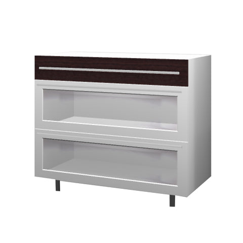 90 Cm. Wengee Mali Base Unit 3 Drawers Plexi Frame Aluminum