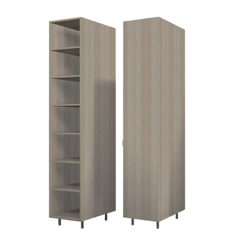 45 Cm. Green Wardrobe (White Interior ) with Shelves Right