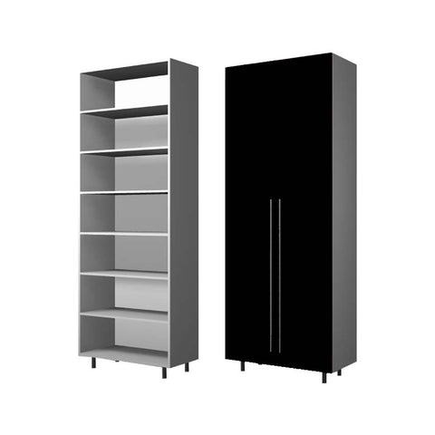 90 Cm. Black High Gloss Wardrobe (White Interior ) with shelves  40 cm Depth