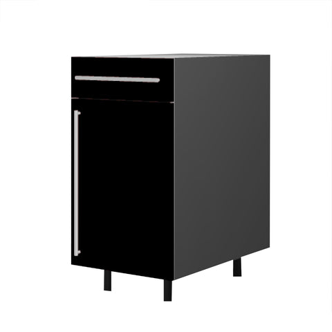 45 Cm. Black High Gloss Base Unit With Drawer & Shelf Right