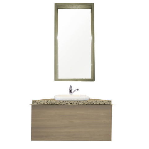 100 Cm. Greenish Avola Combo Bath Sink Tipper Unit + Glass Mirror