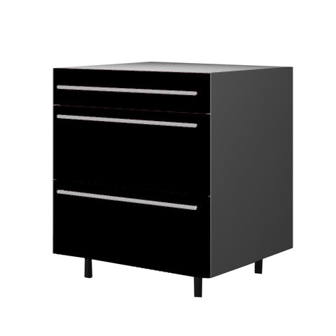 75 Cm. Black High Gloss Base Base Unit 3 Drawers