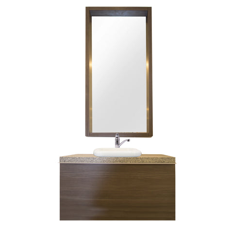 80 Cm. Grey Brown Avola Combo Bath Sink Tipper Unit + Glass Mirror