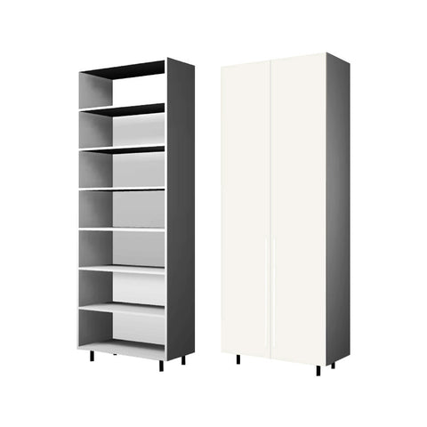 90 Cm. Cream High Gloss Wardrobe (White Interior ) with shelves  40 cm Depth