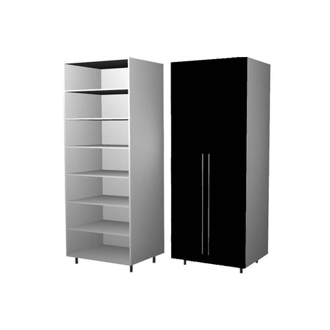90 Cm. Black High Gloss Wardrobe (White Interior ) with Shelves
