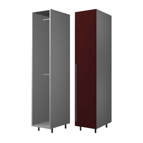 45 Cm. Dark Red High Gloss Wardrobe (White Interior ) with 2 Hanger Right