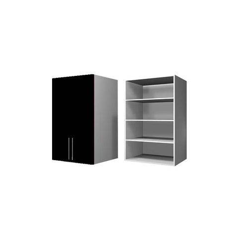 90 Cm. Black High Gloss Wardrobe (White Interior ) Medium with Shelves
