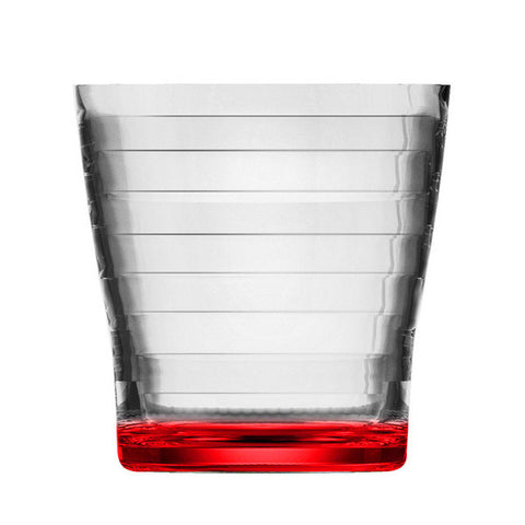 Vortex Bottom Painting Ribbed CUP   H 9.0 T 8.5 CL 29  Red