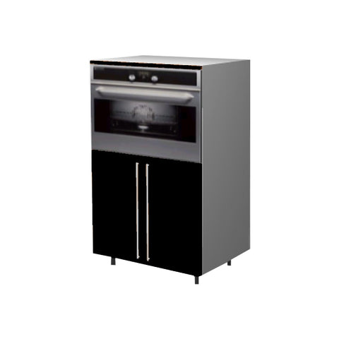 90 Cm. Black High Gloss Medium Base Oven Unit with Shelf & 2 Doors