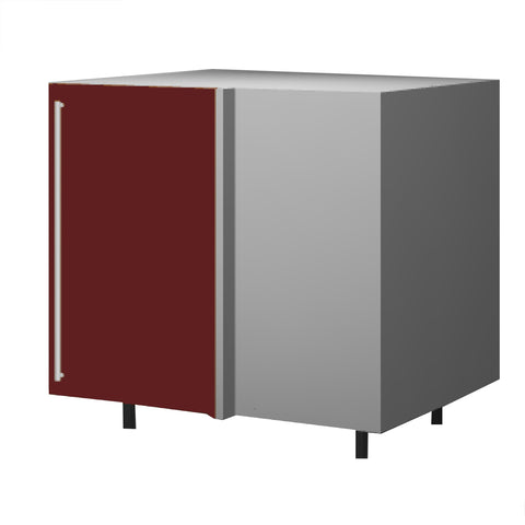 90 Cm. Burgundi High Gloss Base Corner Unit With Shelf Right
