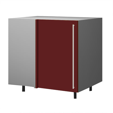 90 Cm. Burgundi High Gloss Base Corner Unit With Shelf Left