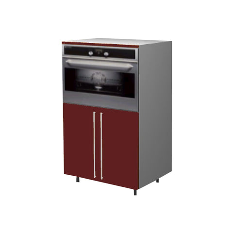 90 Cm. Burgundi High Gloss Medium Base Oven Unit with Shelf & 2 Doors