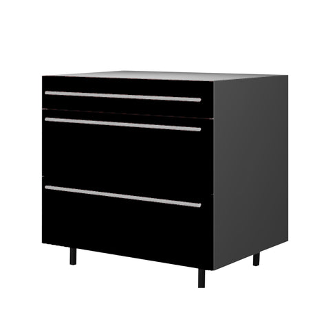 90 Cm. Black High Gloss Base Unit 3 Drawers