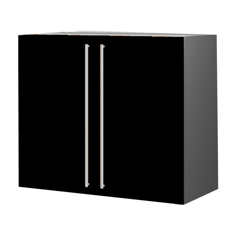 90 Cm.Black High Gloss Upper Unit with Shelf & 2 Doors