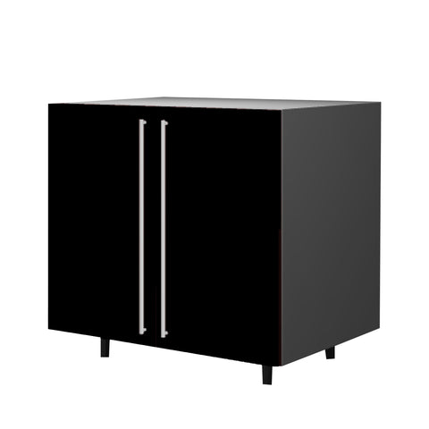 90 Cm. Black High Gloss Base Base Sink Unit With 2 Doors