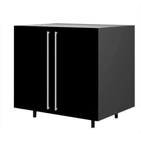 90 Cm. Black High Gloss Base Unit With  Shelf & 2 Doors