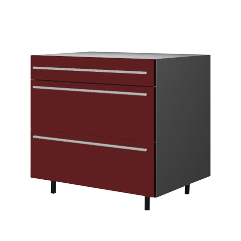 90 Cm. Burgundi High Gloss Base Unit 3 Drawers