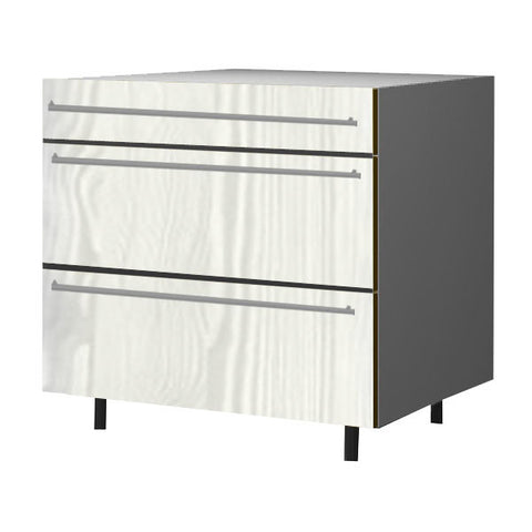 90 Cm. Hacienda White Base Unit 3 Drawers