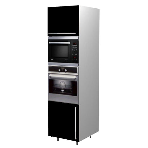 60 Cm. Black High Gloss Tall Oven/Microwave Unit Left