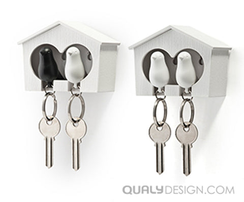 Duo Sparrow-Key Ring White