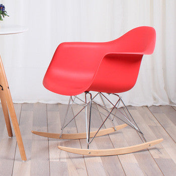 Chair - pp  material and chromed wood legs red