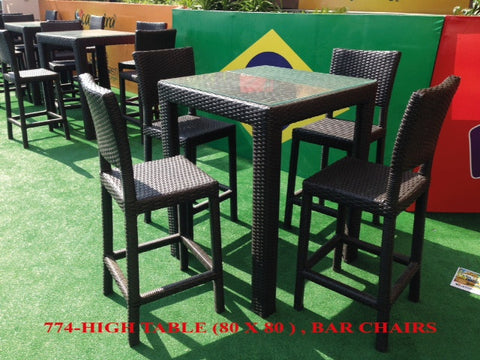 Out Door High table 80*80*105 Dark Brown