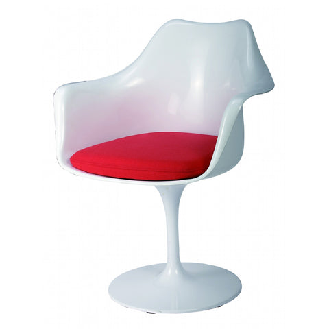 Chair - Leisure Dinning Tulip chair WHITE SEAT+RED CUSHION