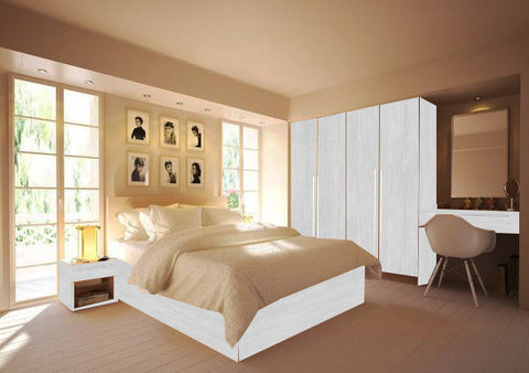 Mono Bedroom Hacienda White Body White laminated Chipboard