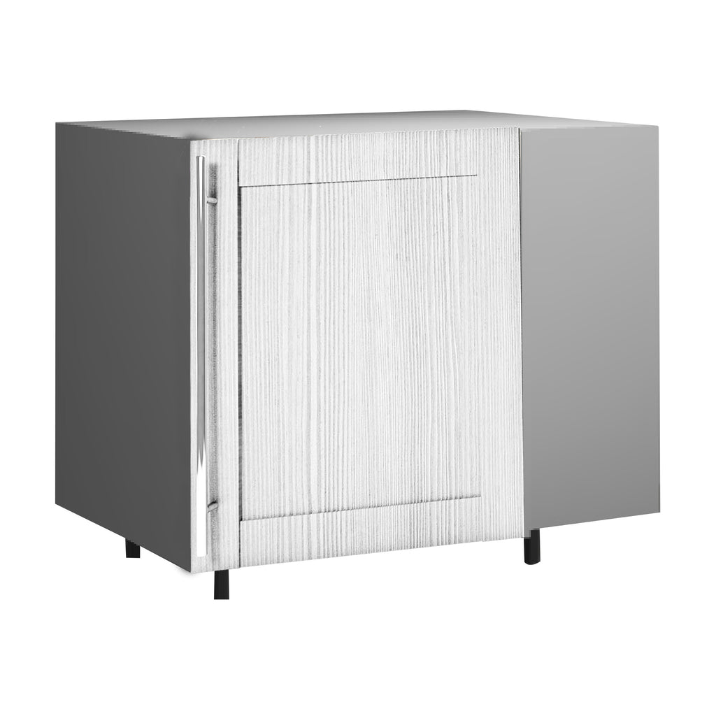 120 Cm. Hacienda White Cadr base corner unit with shelf right