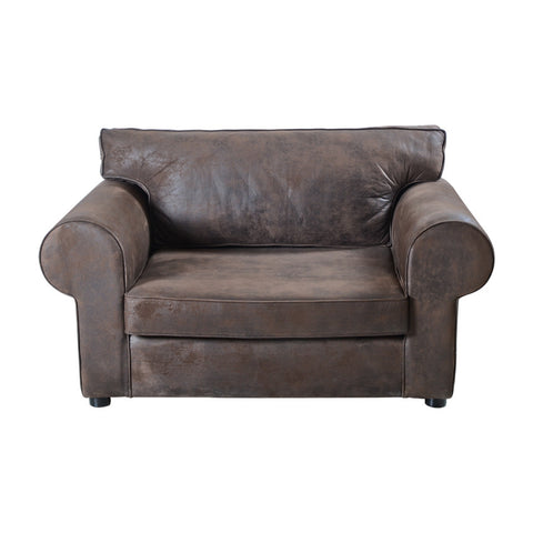S Sofa 155 Leather Effect Brown SOHO9